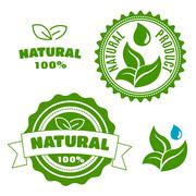 Natural product labels with leaves and drops - stock illustration