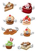 Fruity desserts, cakes, cupcakes and waffles - stock illustration