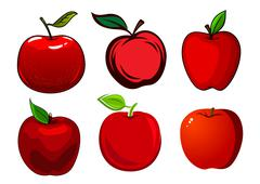 Ripe red apple fruits with leaves - stock illustration