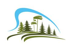 Stock Illustration of Forest emblem with glade, trees and sky