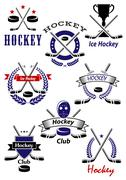 Ice hockey game and club symbols Stock Illustration
