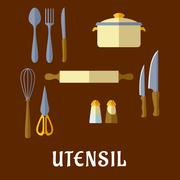 Kitchenware and utensil flat icons Stock Illustration
