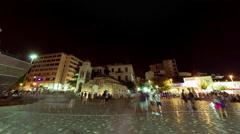 4K 25p Agora Acropolis Monastiraki square, big crowd of people, pan timelapse Stock Footage