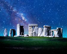 Milky Way over Stone Henge Stock Photos