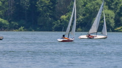 A few sailing boats on the lake Stock Footage