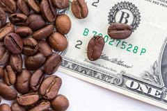 Stock Photo of The concept of the price of coffee on the market
