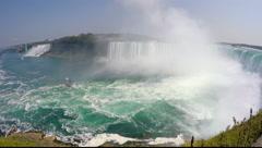 Niagara Falls Horseshoe Falls to American Falls Stock Footage