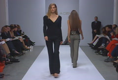 Fashion models walking on runway for Pamela Dennis Collection Stock Footage