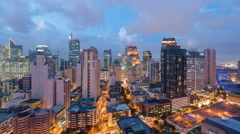 Makati - Manila, Philippines, Day To Night Timelapse Stock Footage
