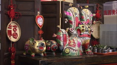 Chinese folk crafts in a Beijing shop, China Stock Footage