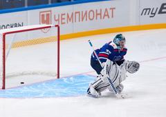 Maxim Sokolov (39), goaltender of SKA Legend team - stock photo