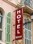 hotel sign facade - stock photo