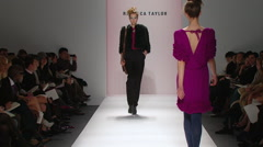 Fashion models walking on runway for Rebecca Taylor Collection Stock Footage