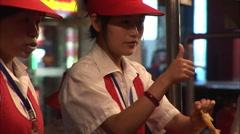 Chinese girl, market vendor, Beijing Stock Footage