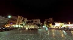 4K 30p Agora Acropolis Monastiraki square, big crowd of people, pan timelapse Stock Footage