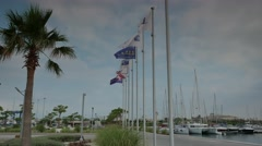 Flags flattering in the marina 4k Stock Footage
