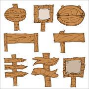 Wooden Signpos - stock illustration