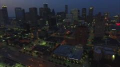 City Of Houston Downtown Aerial View Stock Footage