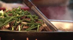 Chinese meat stir fry, Wangfujing, Beijing Stock Footage