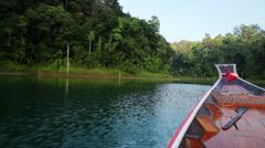 Boat trip at cheow lan lake Stock Footage