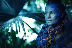 Avatar woman in a magical forest Stock Photos