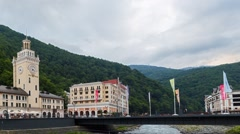 Clock Tower Rosa Khutor. Panorama. TimeLapse. Sochi, Russia - stock footage