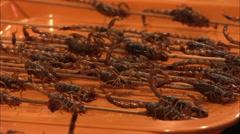 Exotic food, scorpion kebabs, Chinese food Stock Footage