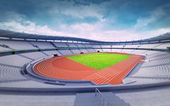 empty athletics stadium with track and grass field at corner view - stock illustration