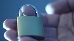 Secure property with padlock - stock footage