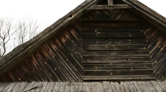 Old wooden house in village Stock Footage