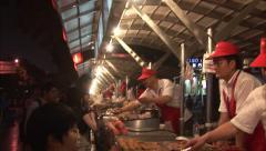 Beijing night food market, Wangfujing Stock Footage