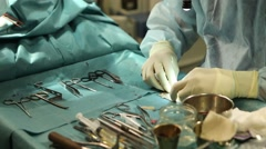 Surgical instruments on a tray in Surgery room Stock Footage