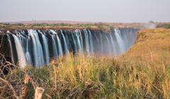 Silk water in Victoria Falls, View from Zimbabwe Stock Photos