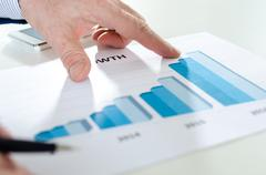 Analyzing growing results - stock photo