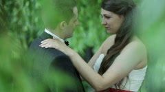 Beautiful young wedding couple Stock Footage