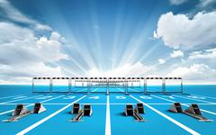 Race track with starting blocks and hurdles outside Stock Illustration