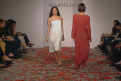 Fashion models walking on runway for Susan Lazar Collection Stock Footage