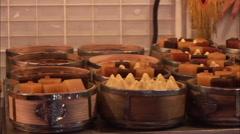 Chinese food, dim sum, Beijing food market Stock Footage