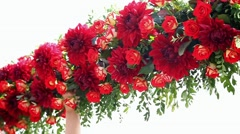 Making beautiful flower decorations for wedding ceremony Stock Footage