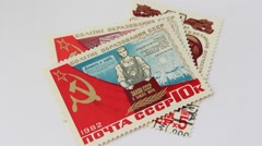 Stamps of the Soviet Union Stock Footage