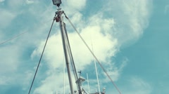 The mast of a large fishing boat in the ocean - stock footage