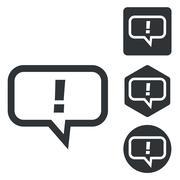 Answer message icon set, monochrome - stock illustration