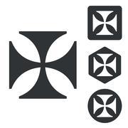 Maltese cross icon set, monochrome - stock illustration