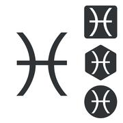 Pisces icon set, monochrome - stock illustration