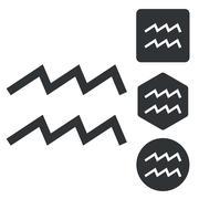 Aquarius icon set, monochrome Stock Illustration