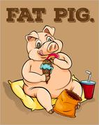 Old saying fat pig - stock illustration