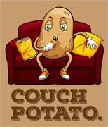 Potato sitting on couch - stock illustration