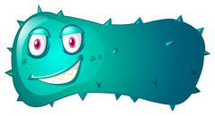 Blue bacteria with evil face - stock illustration