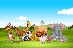 Wild animals in nature - stock illustration
