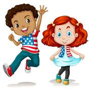 American boy and girl greeting Stock Illustration